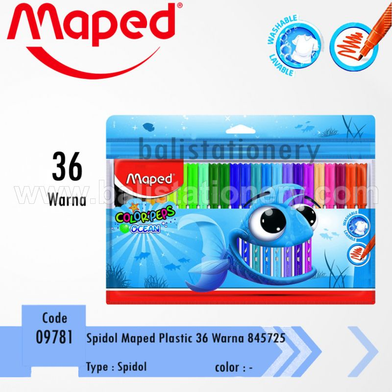 Spidol Plastic Maped Color'Peps Ocean 24 colors with Zip Bag
